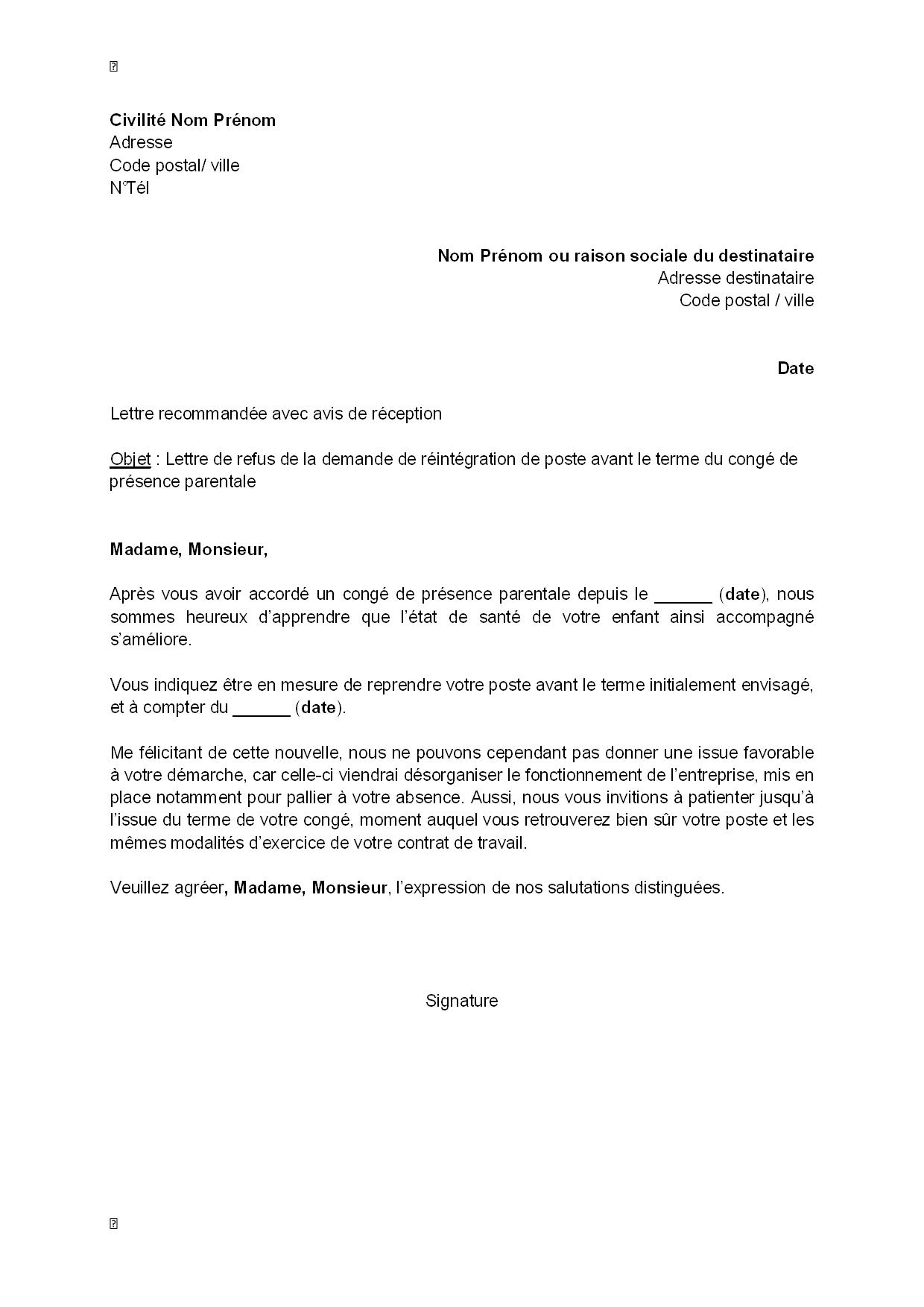 lettre de refus  par l u0026 39 employeur  de la demande de