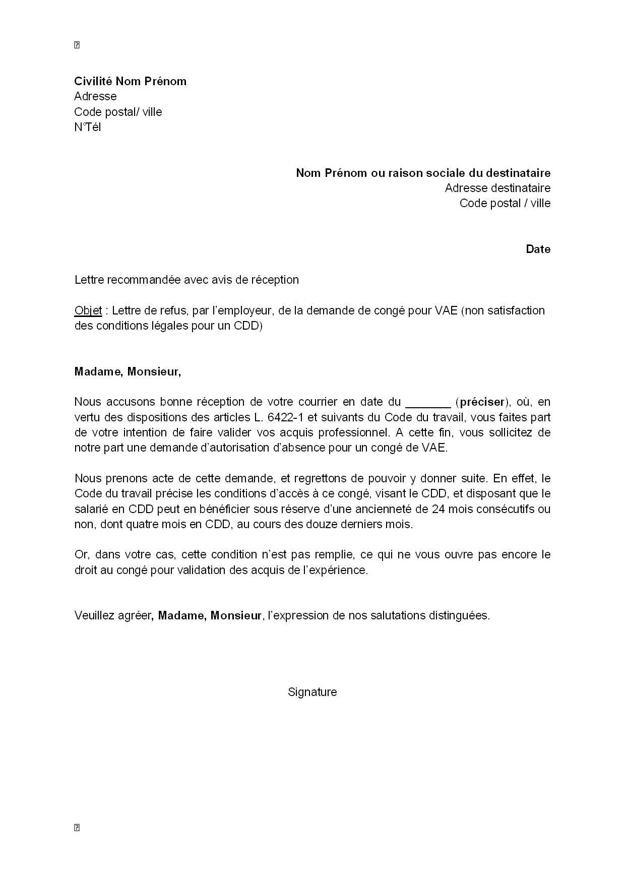 lettre de refus  par l u0026 39 employeur  de la demande pour cong u00e9