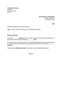 Exemple gratuit de lettre refus par employeur dispense pr avis suite d mi - Refus de pret immobilier ...