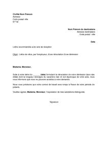 Lettre De Refus Par L Employeur De La Retractation D Une Demission