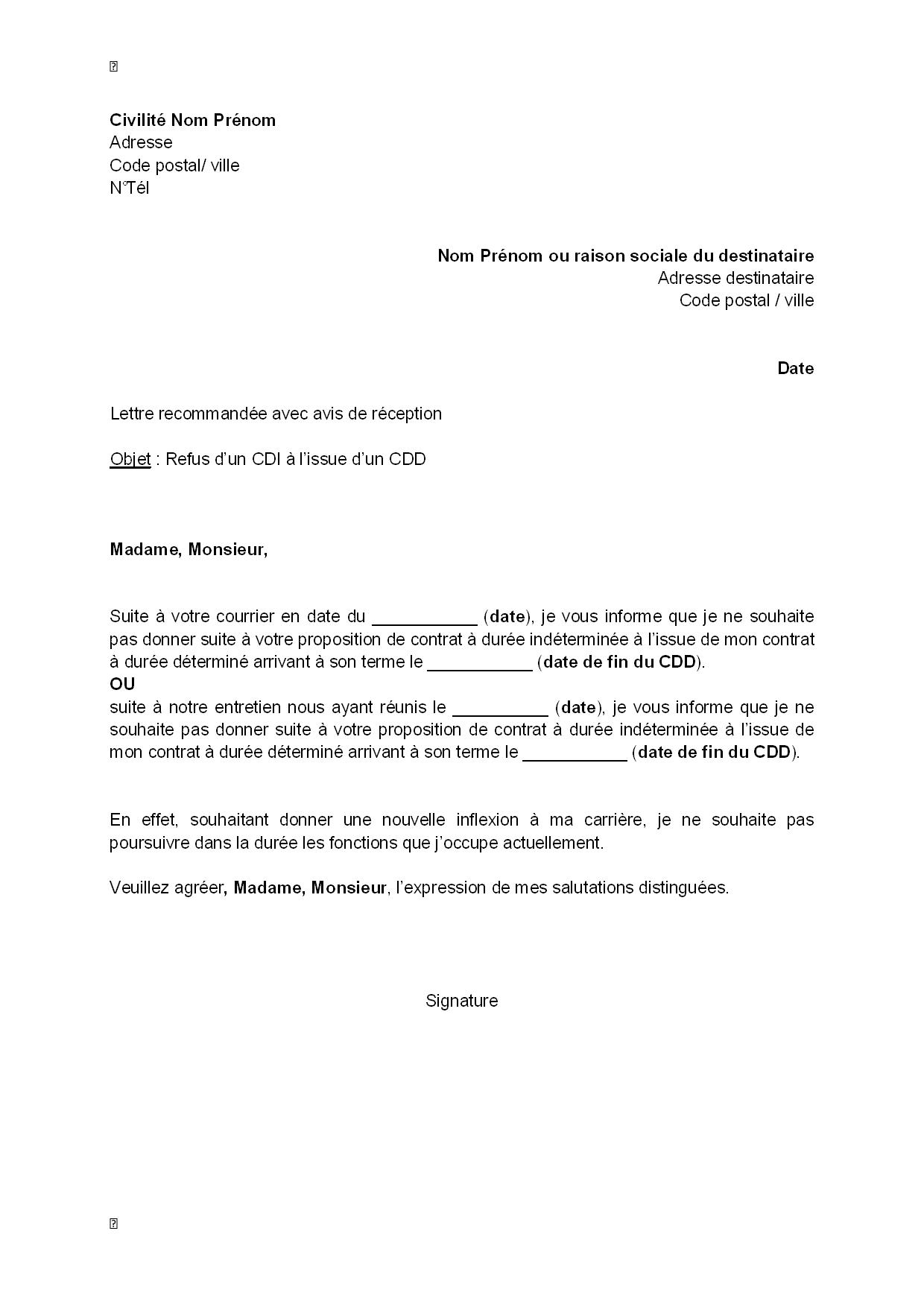 exemple gratuit de lettre refus  par salari u00e9  un cdi  u00e0 issue cdd