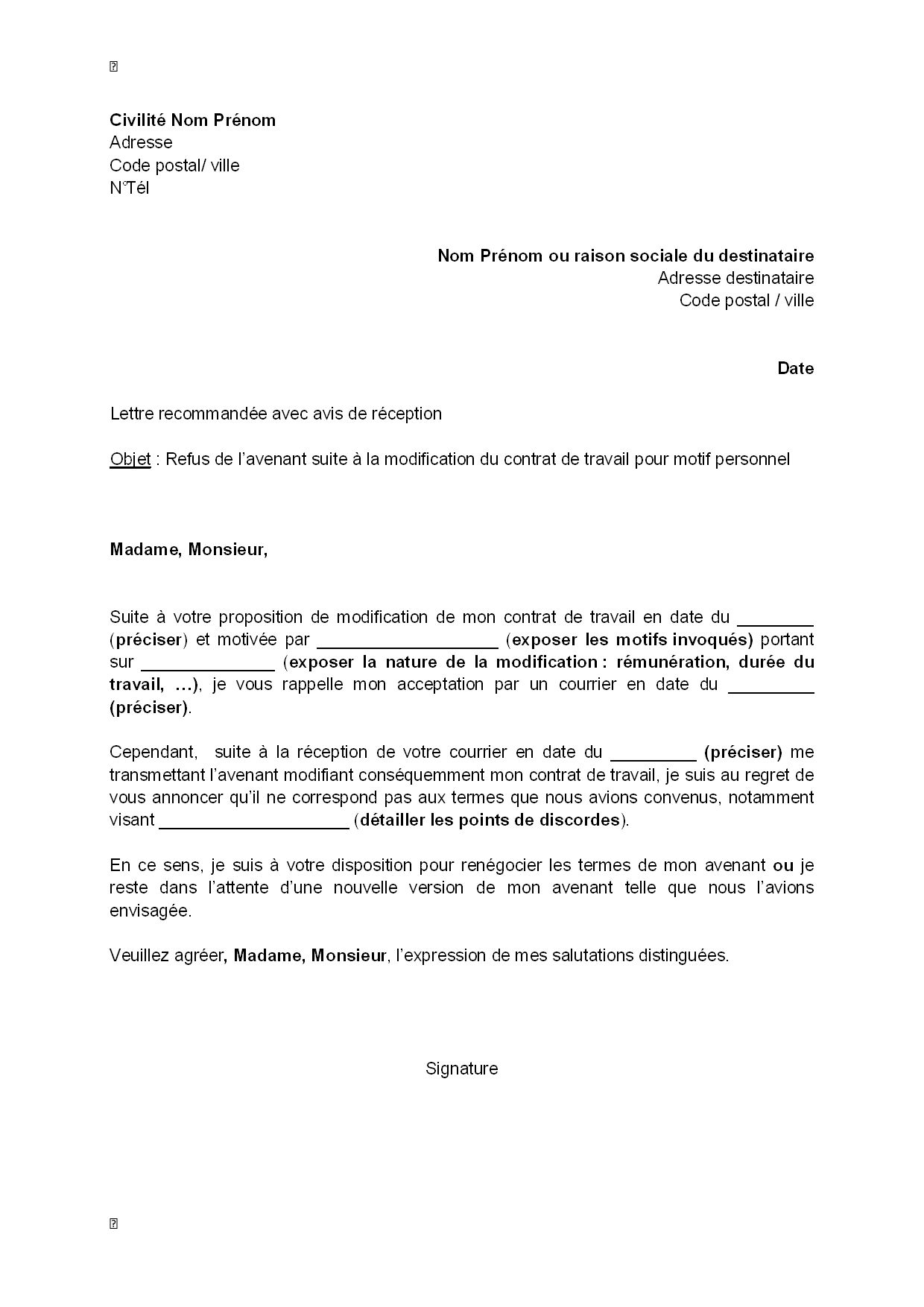 exemple gratuit de lettre refus  par salari u00e9  avenant suite  u00e0 modification contrat travail motif