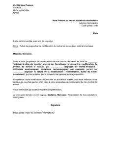 modele lettre refus avenant contrat de travail lettre demande modification contrat de travail gratuit ] | modele  modele lettre refus avenant contrat de travail