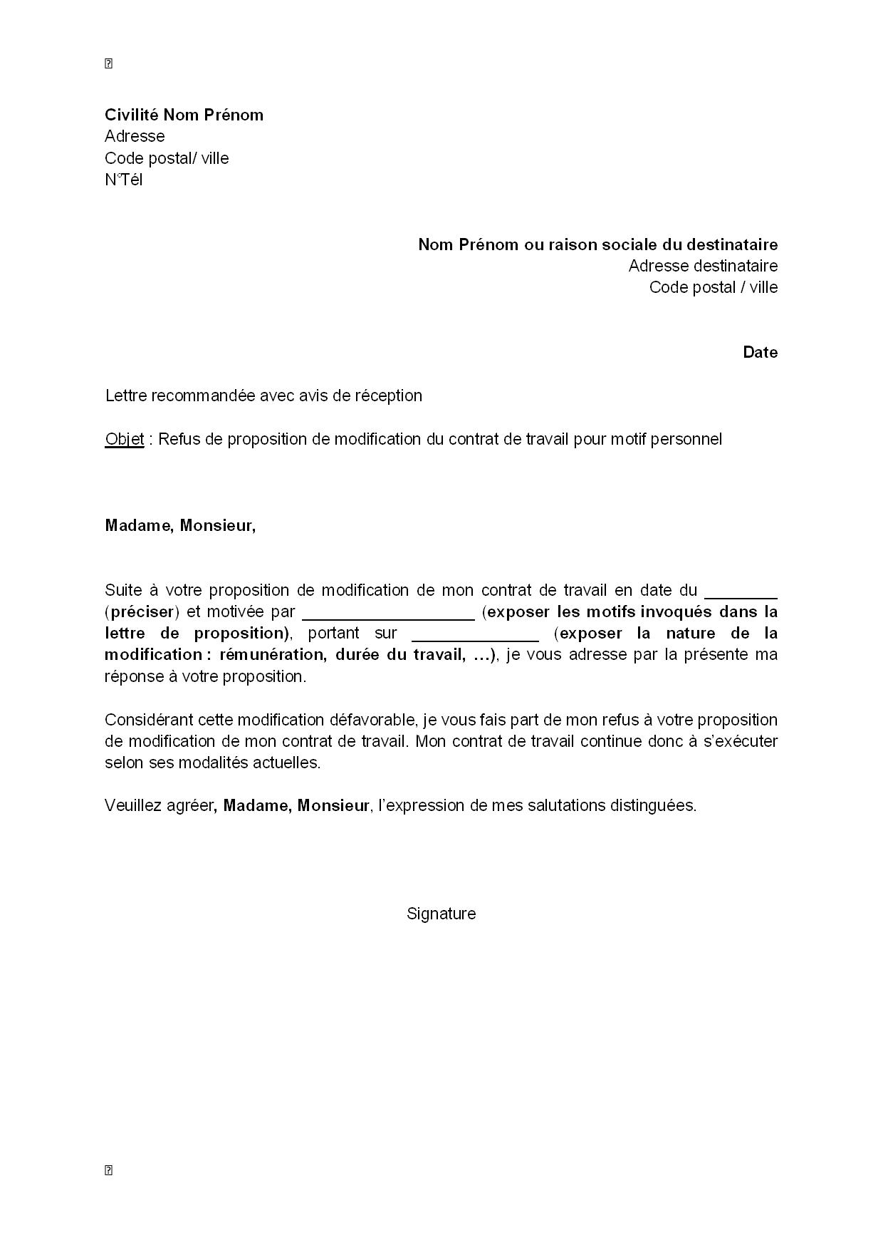 lettre de refus  par le salari u00e9  de la modification de son contrat de travail pour motif