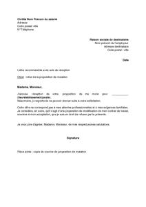 Lettre De Refus Par Le Salarie De La Proposition De Mutation
