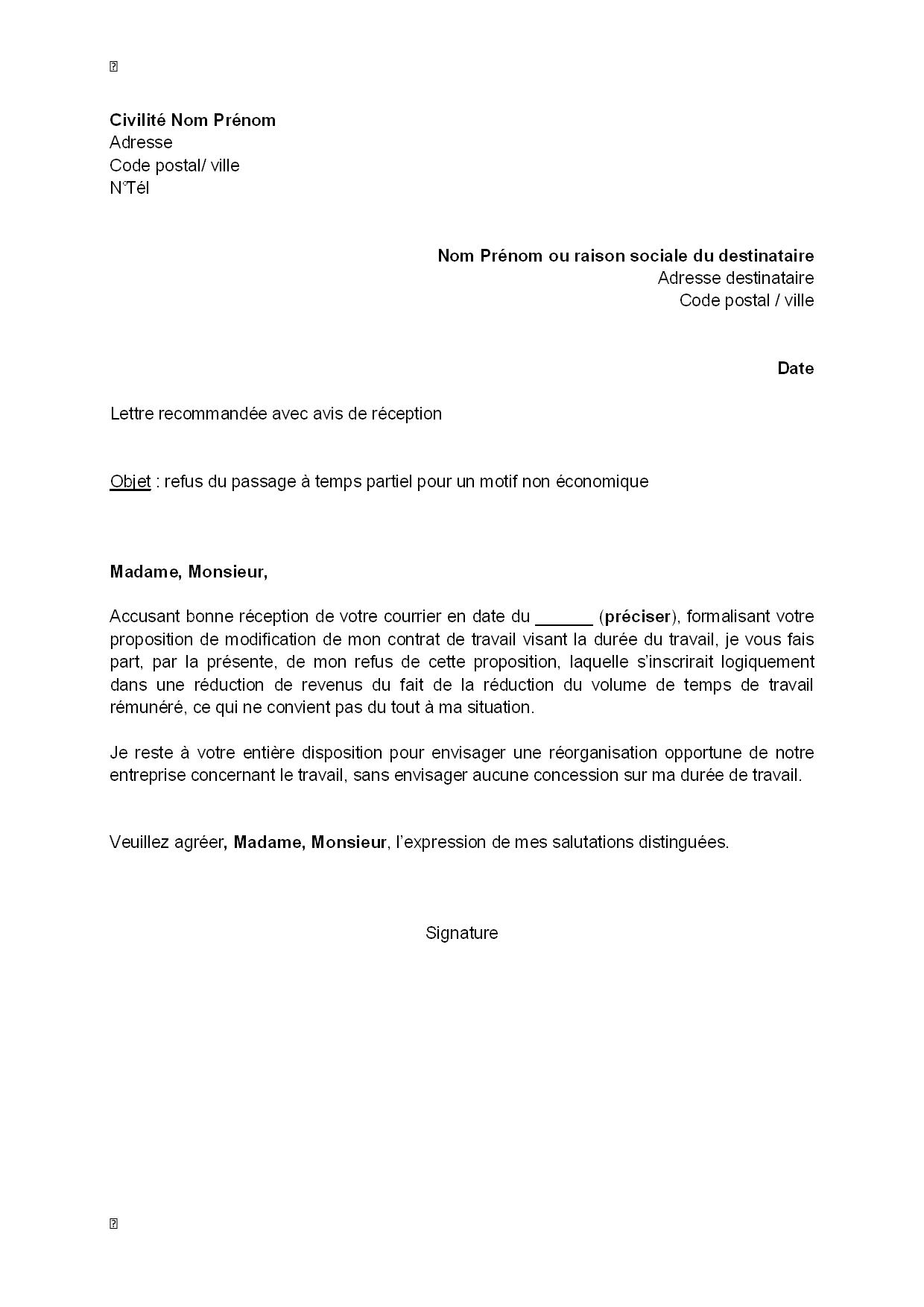 exemple gratuit de lettre refus  par salari u00e9  passage  u00e0