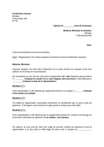 Lettre De Regularisation D Un Cheque Sans Provision Et Demande De