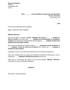 Lettre De Relance Aupres D Un Client Pour Facture Impayee Modele