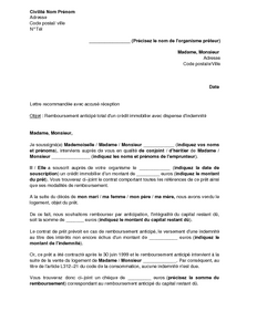 Lettre de remboursement anticip d 39 un cr dit immobilier avec dispense d - Documents pret immobilier ...