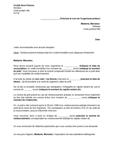 Modele lettre resiliation pret immobilier document online - Documents pret immobilier ...