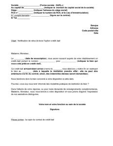 lettre de renonciation au benefice de loption dun credit