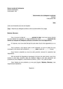 Lettre de réponse aux organisations syndicales sollicitant l'ouverture de négociations suite à ...