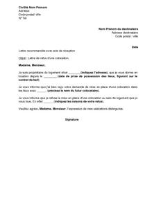 Lettre de r ponse d favorable pour une colocation au sein d 39 un logement - Faire suivre courrier gratuitement ...