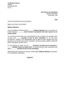 Exemple gratuit de lettre r ponse favorable colocation for Contrat de colocation meublee