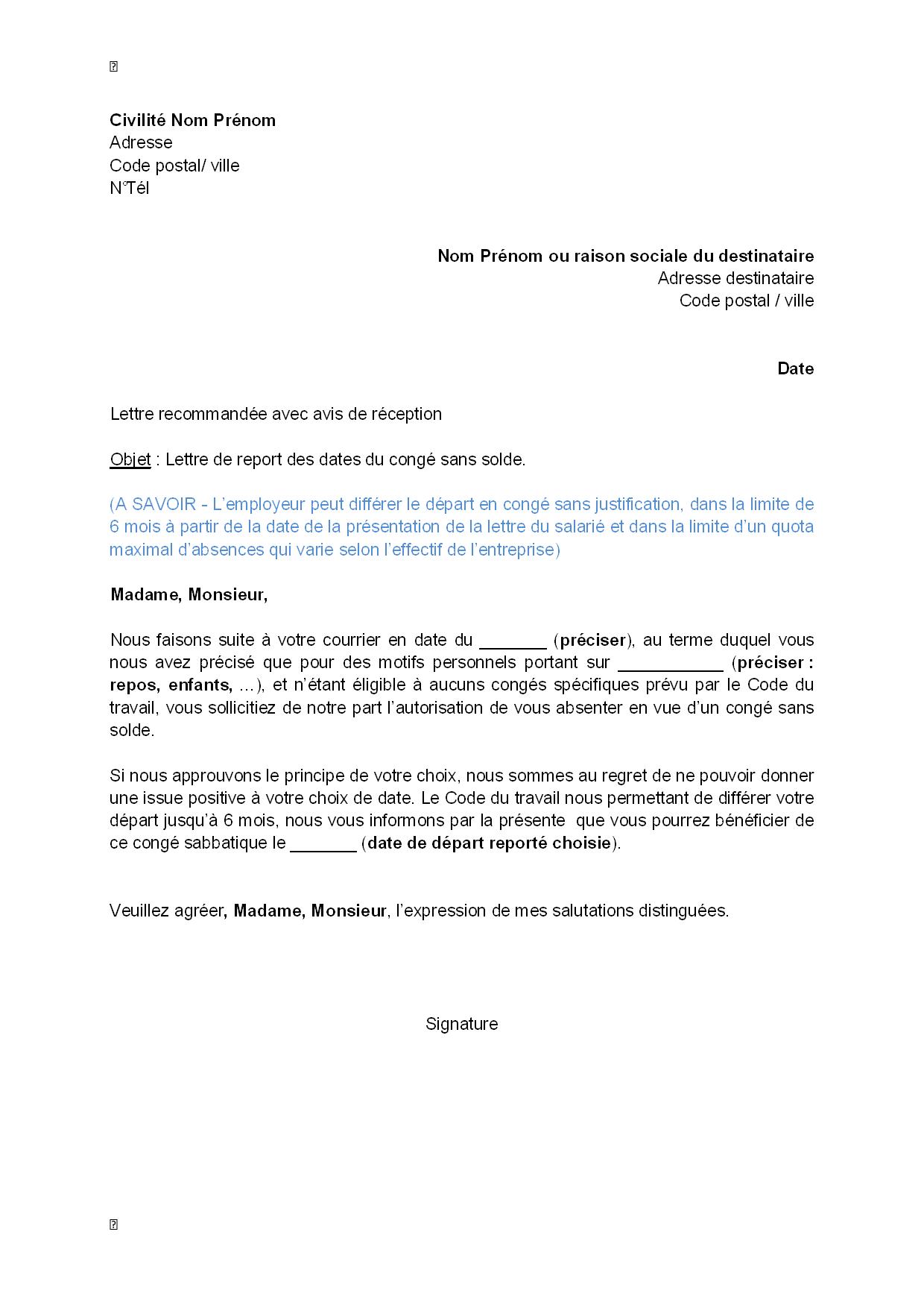 Lettre De Report Par L Employeur Des Dates Du Conge Sans Solde