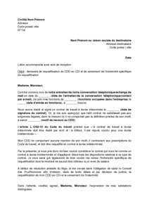 Lettre De Requalification Du Cdd En Cdi Par Le Salarie Absence De