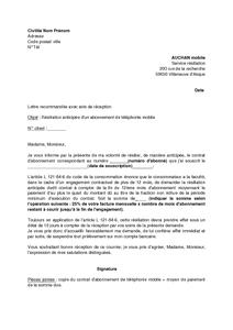lettre de résiliation anticipée d un abonnement AUCHAN de