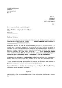 Lettre De Résiliation Anticipée De L Abonnement Canal De