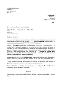 Exemple lettre resiliation canalsat