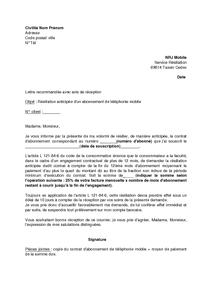 Lettre Resiliation Portable Exemple De Lettre Pour Resilier Un Bail