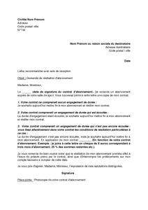 Lettre De Resiliation D Un Abonnement A Une Salle De Sport