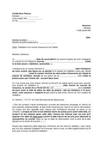 Exemple gratuit de Lettre résiliation un contrat assurance sans préavis non respect délai ...