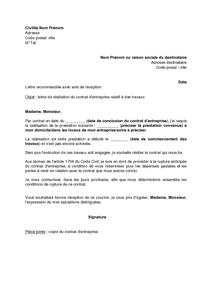 Lettre de résiliation d'un contrat d'entreprise relatif à des travaux - modèle de lettre gratuit ...