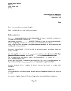Lettre de r siliation d 39 un cr dit renouvelable mod le de lettre gratuit - Cetelem suivi demande de credit ...