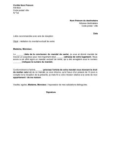 Lettre De Résiliation D Un Mandat Exclusif De Vente Consenti