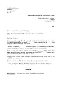 lettre résiliation carte bancaire Exemple gratuit de Lettre résiliation une carte crédit à consommation
