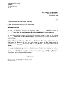 Lettre De Résiliation De Bail D Habitation Par Le Locataire