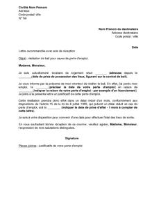 Lettre De Resiliation De Bail D Habitation Par Le Locataire En Raison D Une Perte D Emploi Modele De Lettre Gratuit Exemple De Lettre Type Documentissime