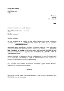 Lettre De Résiliation De Contrat D Assurance Automobile à