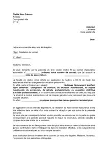 Lettre De Résiliation De Contrat D Assurance Automobile