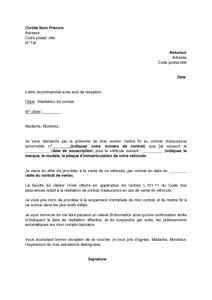 Exemple Gratuit De Lettre Résiliation Contrat Assurance