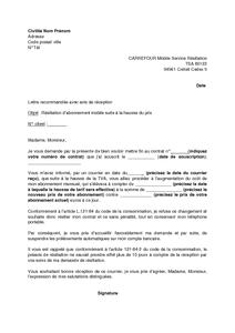 Lettre De Résiliation De Forfait De Telephone Carrefour