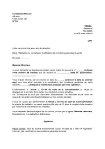 Lettre De Résiliation De L Abonnement Canal Pour