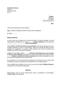 Lettre De Résiliation De L Abonnement Canal Pour Motif