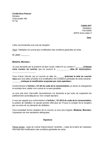 Lettre de résiliation de l'abonnement CanalSat pour modification des conditions générales de ...