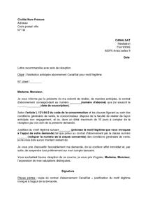 Exemple Gratuit De Lettre Resiliation Abonnement Canalsat Motif Legitime