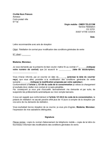 Exemple lettre resiliation virgin