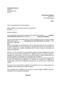 Exemple lettre resiliation operateur