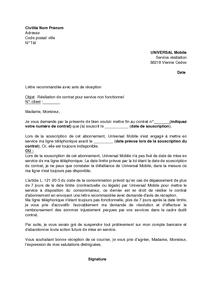 lettre resiliation abonnement telephonique