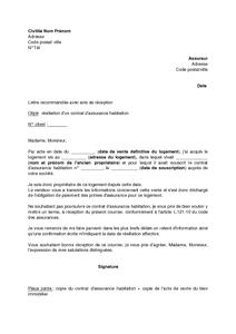 Lettre De Resiliation Du Contrat D Assurance Habitation Suite A L Acquisition Du Logement Modele De Lettre Gratuit Exemple De Lettre Type Documentissime