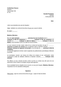 Lettre De Résiliation Du Contrat De Fourniture De Gaz Pour