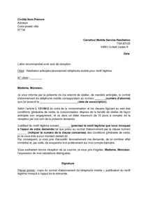 Lettre De Resiliation Pour Motif Legitime De L Abonnement Carrefour