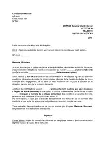 Lettre De Résiliation Pour Motif Légitime De L Abonnement