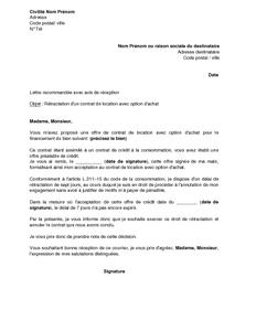 Lettre De Rétractation D Un Contrat De Location Avec Option