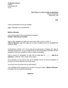 Lettre De Retractation D Un Credit Personnel Modele De Lettre Gratuit Exemple De Lettre Type Documentissime