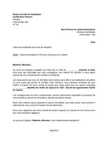 lettre de rupture anticip e du cdd pour faute grave du salari mod le de lettre gratuit. Black Bedroom Furniture Sets. Home Design Ideas